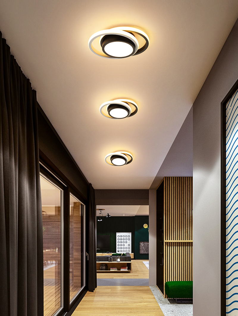 Modern LED Ring Ceiling Light Round Square Circle Ceiling Lamp with Acrylic Lampshades for Living Room Bedroom Kitchen