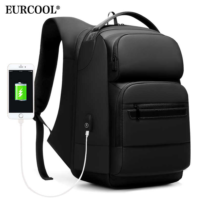 EURCOOL Travel Backpack Men Multifunctional 15.6 inch Laptop Space Bag Mochila Water Repellent Teenage Business Backpack n1856
