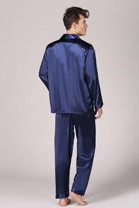 Image 5 - Conjunto de pijama de seda de imitación para hombre, camisón de manga larga suave, Tops, pantalones, ropa de dormir, hogar