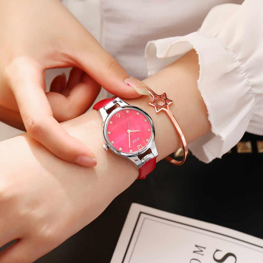 Dames Horloges 2019 Merk Luxe Fashion Casual Lederen Band Analoge Quartz Roze Kristallen Zegarek Damski Dames Horloge
