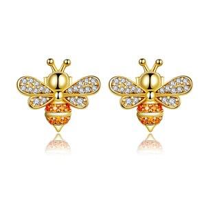 Image 4 - bamoer GXE785 925 Sterling Silver Exquisite Golden Bee Bear Star Cross Hoop Earrings Women Fine Jewelry Hypoallergenic Jewelry