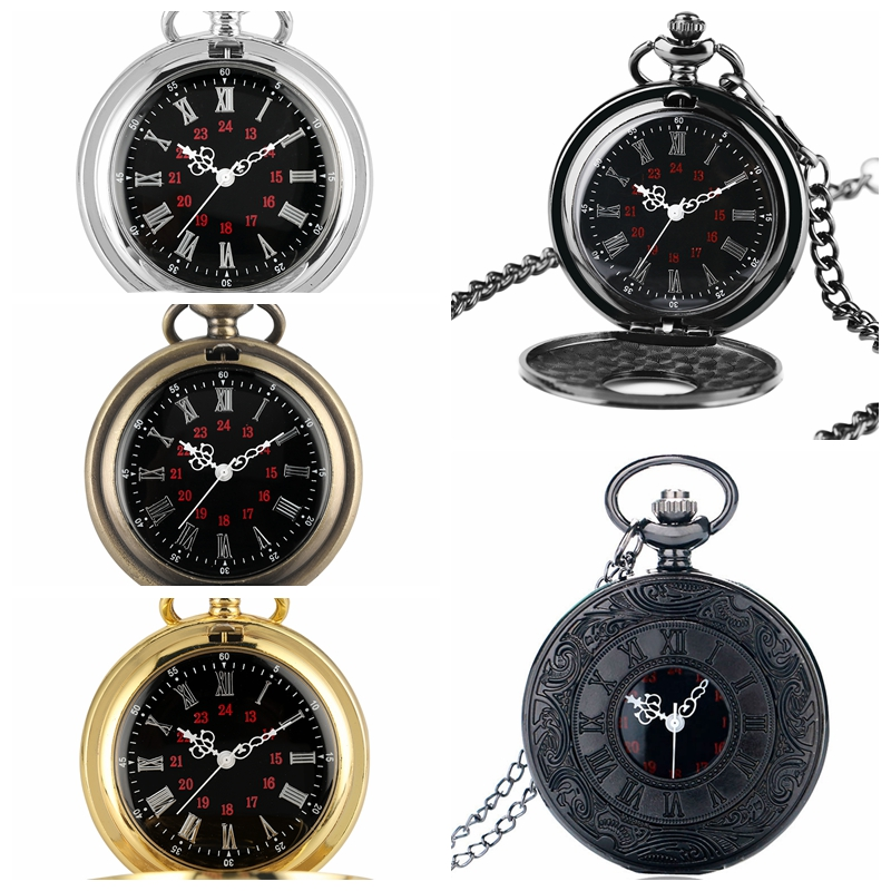 Antique Retro Roman Numeral Display Quartz Pocket Watch Fashion Silver Gold Necklace Pendant Clock Christmas Gifts For Men Women