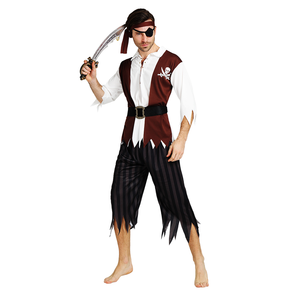 Nordic Male Pirate Costumes Set Movie Apperal Irregular Tops And Pants Halloween Costume For Man Adult 2019 New Style