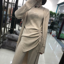 2019 Womens New Turtleneck Full Elastic Waist Set Hot Fashion Wool Knit Vest Cardigan And Wide-leg Pants Three-piece Women