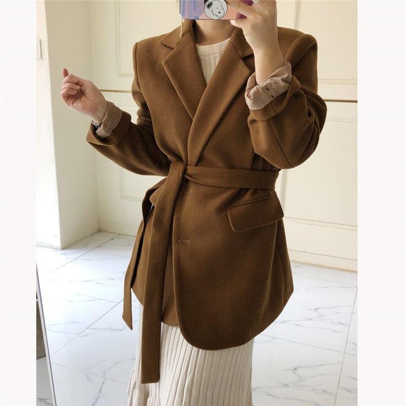 HziriP 2020 Loose Women Plus Size Vintage Solid Brief Feminine Woolen Warm All Match Retro Chic Office Lady Hot Vintage Blazer