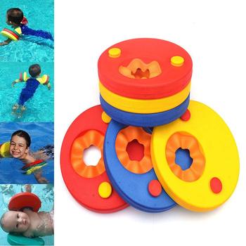 1 sztuk dziecko pływanie EVA nadmuchiwany pierścień dziecko opaski na ramię basen Float koło do pływania basenie pływak nadmuchiwany dla dzieci dzieci tanie i dobre opinie Kickboard Floating sleeves Red blue yellow 18 6cm 2 2cm