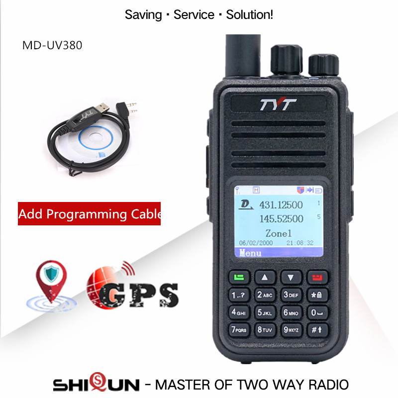 TYT MD-UV380 Digital Walkie Talkie GPS Dual Band UHF VHF Md380 MD-390 DM-5R DM-8HX MD-380 Baofeng 5W DMR Radio MD-380 With Cable