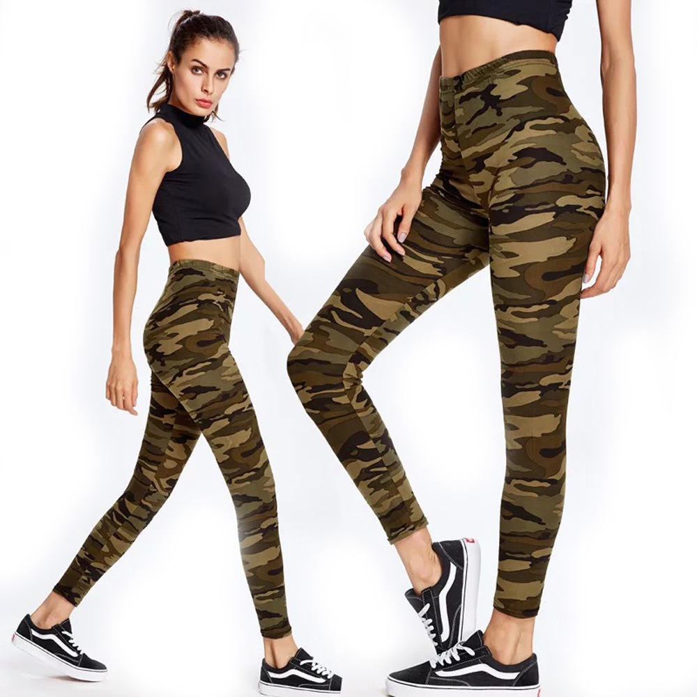 Womens High Waisted Stretchy Camoulfage Leggings Plus Size Workout Camo Jegging Fittness Leging Femme Sportwear Legins Mujer