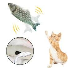 Peixe em movimento brinquedo elétrico para gato carregador usb interativo gato mastigar mordida brinquedos catnip suprimentos gatinho peixe flop gato balançando brinquedo