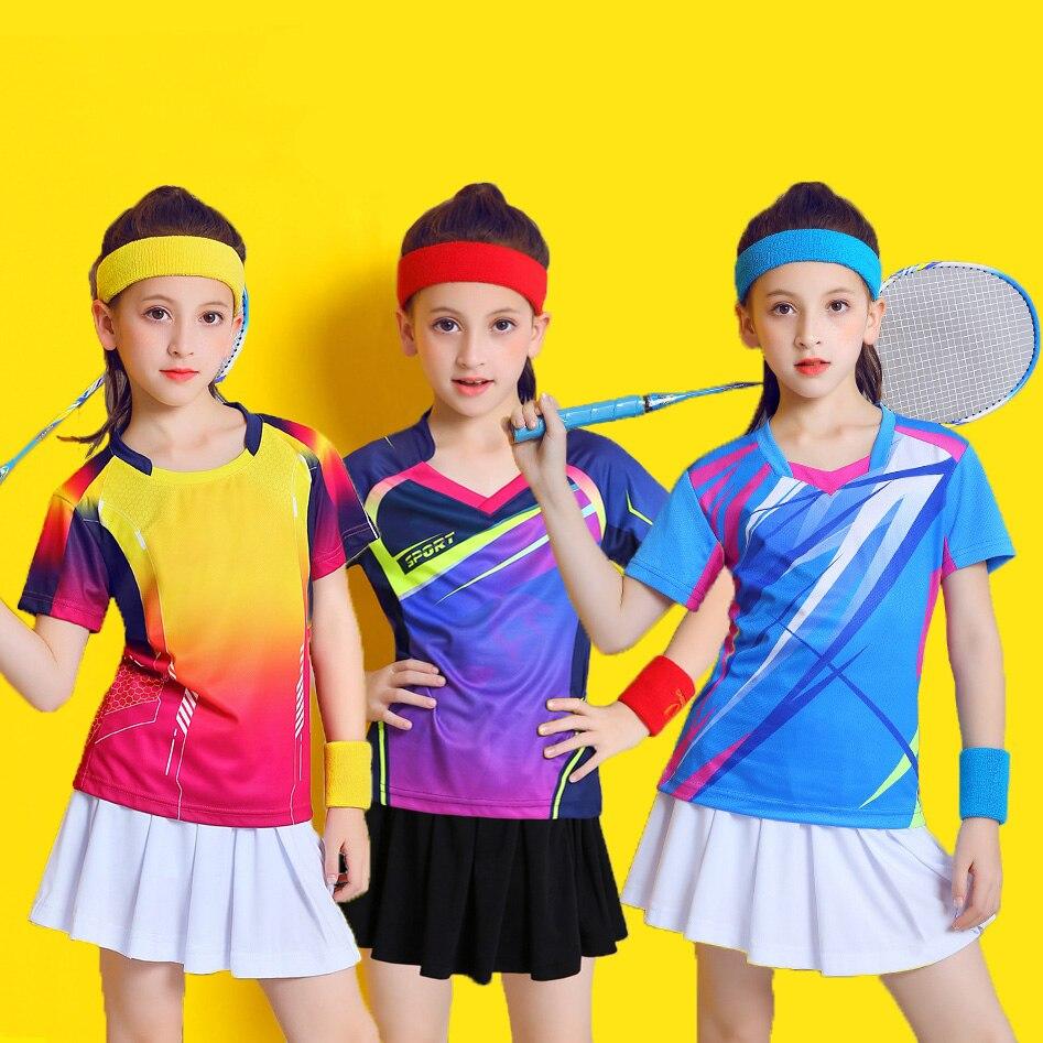 Costume de Badminton pour enfants, ensemble chemise et jupe de Tennis à manches courtes pour filles, vêtements de Ping-Pong, Kits de volley-ball pour enfants