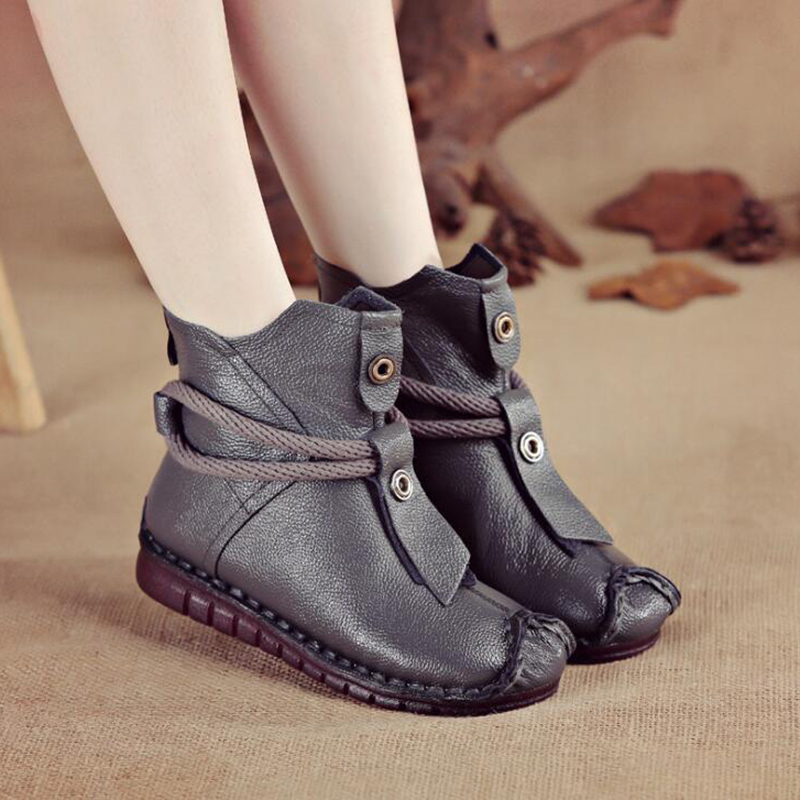 GKTINOO Women's Boots Genuine Leather Zipper Comfortable Ankle Boots For Women Rubber Solid Non Slip Winter Shoes Women Plush
