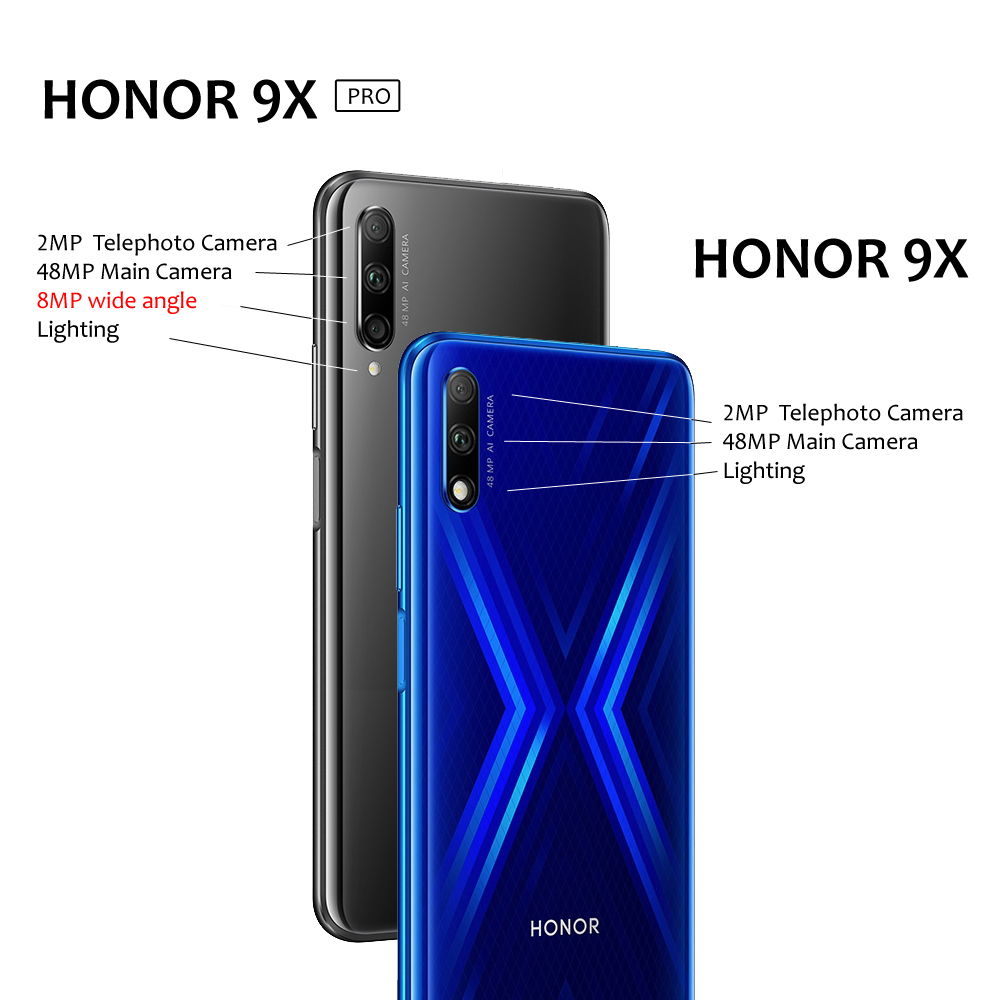 Honor 9X Pro Glass Body Smartphone 6.59'' Full Screen Honor 9X Kirin 810 Octa Core Auto Pop Up Camera Google Play Fingerprint