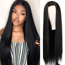 Ombre 99J 27 Long Straight Hair Heat Resistant Synthetic Hair Wigs 30inch Middle Part Natural Black Daily Wigs For Women