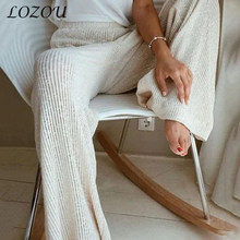 2021 Women's Spring Autumn Solid Color Pants Knit Trousers Ladies High-Waist Loose Straight Wide-Leg Elegant Casual Comfortable