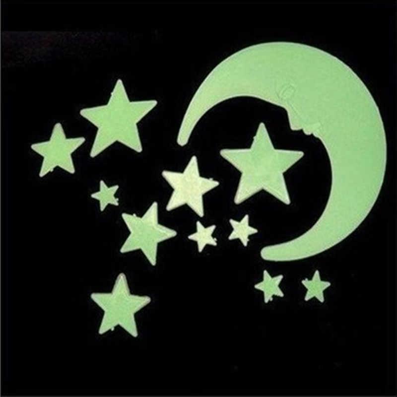 10pcs 3D Stars Glow In Dark Luminous Fluorescent Plastic Wall Sticker Home Decor Decal Wallpaper Decorative Special Festivel