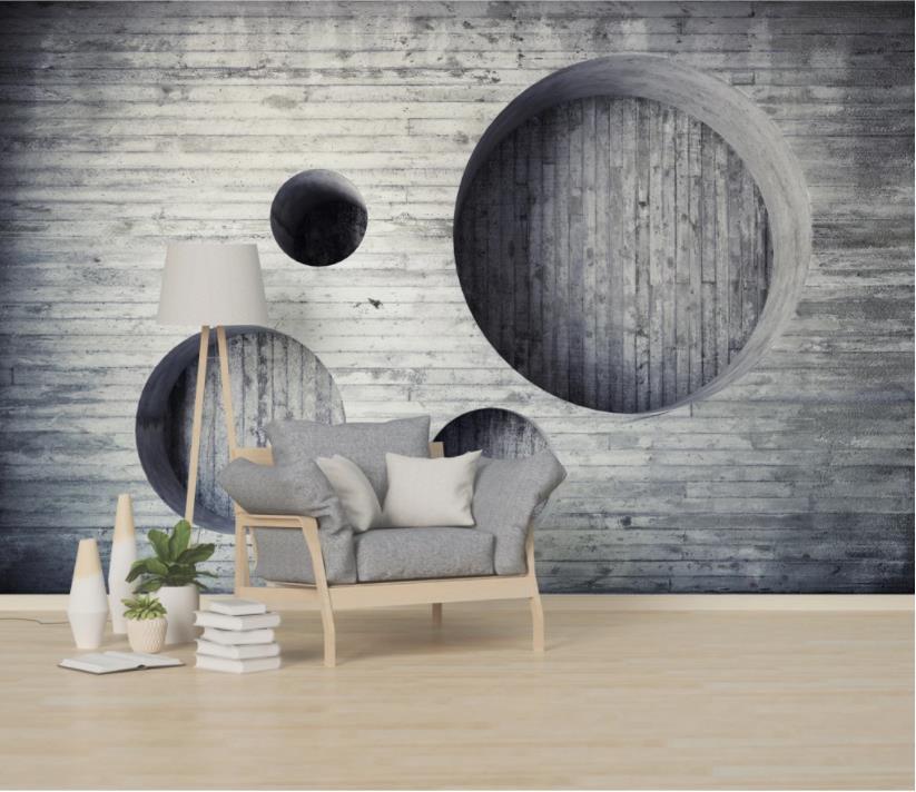 Custom 3d Mural Wallpaper Round Gray Wallpaper For Kids Room Living Room Bedroom 3d Background Photo Wallpaper Wallpapers Aliexpress