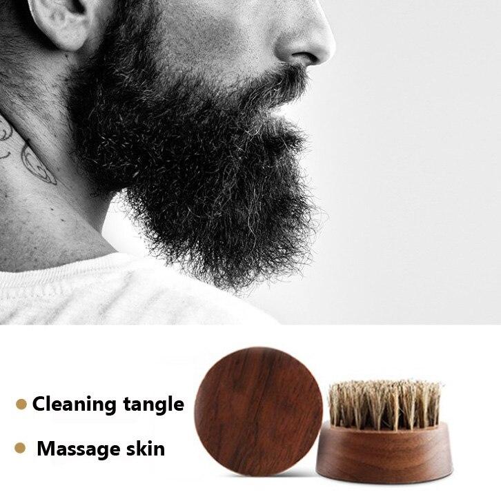 LAOCCCROSS круглая щетка для бороды с щетиной черного ореха, щетка для усов ручной работы + металлический чехол для мужчин, уход за бородой