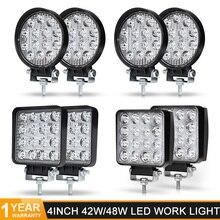 4 بوصة 48 واط مربع 42 واط مصابيح LED مستديرة ضوء العمل الطرق الوعرة سيارة 4WD شاحنة جرار مركب مقطورة 12 فولت 24 فولت مصابيح القيادة مصباح ليد بار 4x4