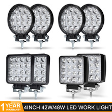 4 inch 48W Square 42W Round LED Work Light Offroad Car 4WD Truck Tractor Boat Trailer 12V 24V Driving lights led light bar 4x4