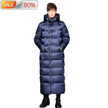 2020 New Goose Men Long Thick Korean Men #8217 s Winter Jackets Down Coat puffer Jacket Doudoune Homme B21335 cheap Slim Casual zipper Full Pockets Zippers Thick (Winter) Broadcloth NYLON Polyester White goose down NONE 300g Solid X-Long