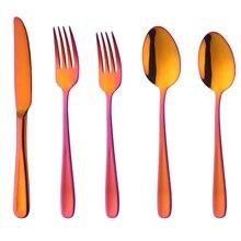 ABUI-5 наборы, модные оранжевые и Красные столовые приборы, столовые приборы из нержавеющей стали, кухонная ложка, вилка, нож, чайная ложка, оранжевые и красные