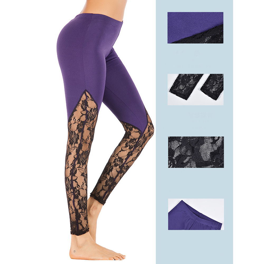 Zhangyunuo Sexy Lace Stitching Yoga Pants Large Size S-5XL Push Up Sport Leggings Stretch Gym Running Fitness Sport Tights