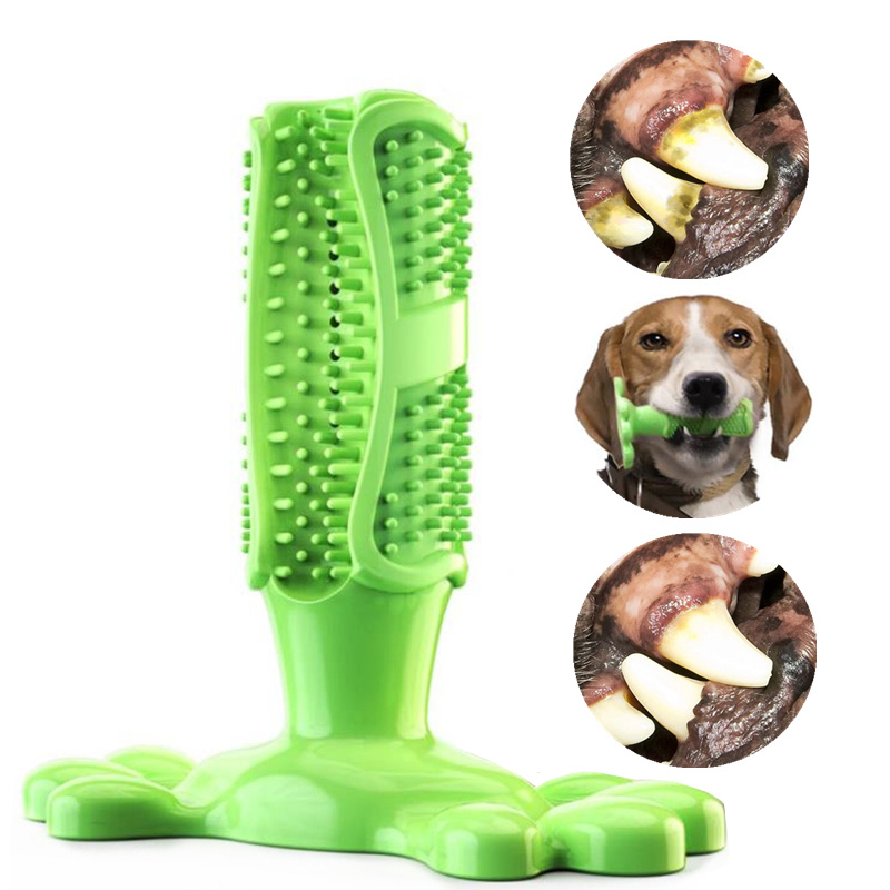 Pet toothbrush dog brush stick dog toy rubber chew effective cleaning brush tooth dog toothbrush pet oral care tooth stick image