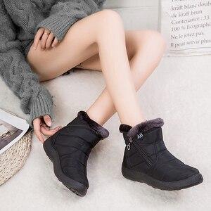 Image 3 - YIKUYUBO 2019 kobiet buty zimowe botki dla damskie buty ciepłe krótkie pluszowe wkładka kobiety zimowe płaskie z zamkiem błyskawicznym śnieg buty