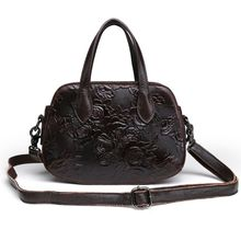 купить Women's Floral Embossed Handbag Leather Messenger Top Handle Bags Crossbody Satchel Purse Tote Shoulder Bag дешево