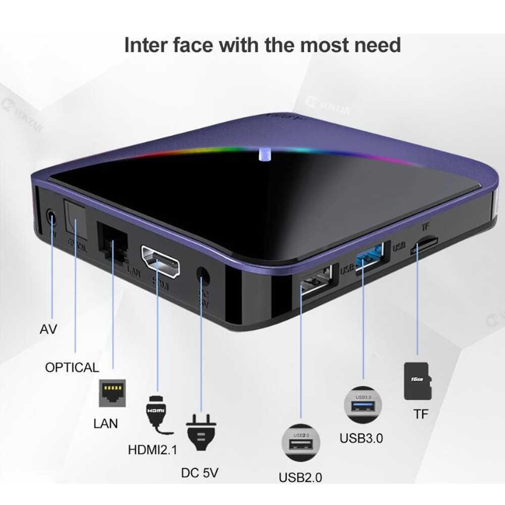 A95X F3 akıllı TV kutusu RGB ışık Android 9.0 Amlogic S905X3 4G 32G 64G Wifi BT Set üstü kutu youtube 8 K 4 K IPTV medya oynatıcı