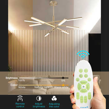 Variable shape Modern Chandelier lights remote control dimmable Bedroom livingroom decoration Led Hanging Chandeliers lighting