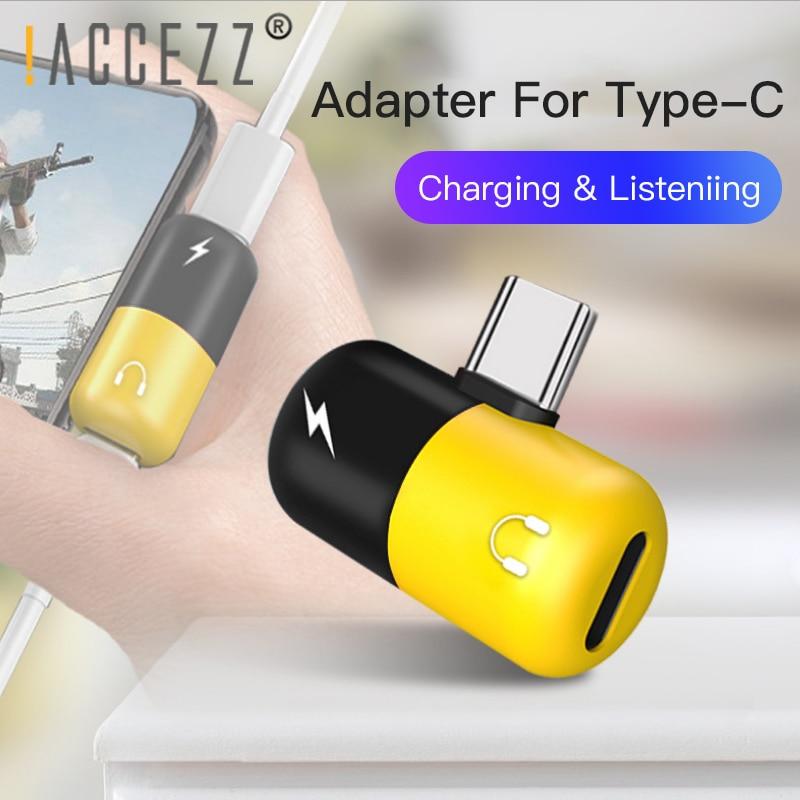 !ACCEZZ Pill Type C Audio Adapter 2 In 1 Earphone Charging Listening For Xiaomi Samsung Huawei USBC Headphone Converter Splitter