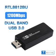 Adaptador duplo das antenas do dongle de realtek rtl8812bu para windows 7/8/10/mac os da faixa 802.11ac 1200 mbps usb 3.0 wifi sem fio ac cartão