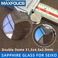 Per Seiko SKX007/009/SKX011/SKX171/175/401 K Zaffiro Orologio di Vetro con Blu AR rivestimento/Trasparente Doppia cupola 31.5x4.5x2.9mm