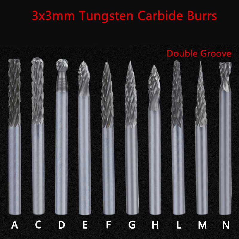 Jrealmer 1pcs 3x3mm Double Groove Tungsten Carbide Abrasive Cutter Rotary Burr Set CNC Engraving Bit
