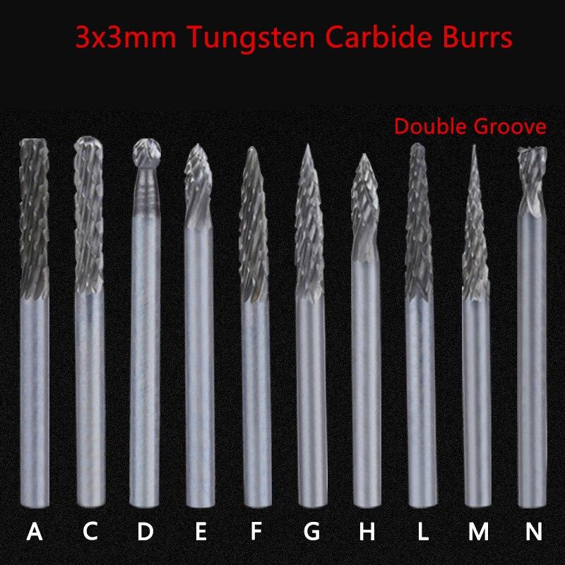 Jrealmer 1pcs 3x3mm Double Groove Tungsten Carbide Abrasive Cutter Rotary Burr Set CNC Engraving Bit