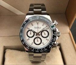 Szafirowy kryształ 39mm PARNIS japoński mechanizm kwarcowy zegarek męski wielofunkcyjny zegarek kwarcowy ceramiczna ramka szkiełka zegarka 5Bar pa182-pp8