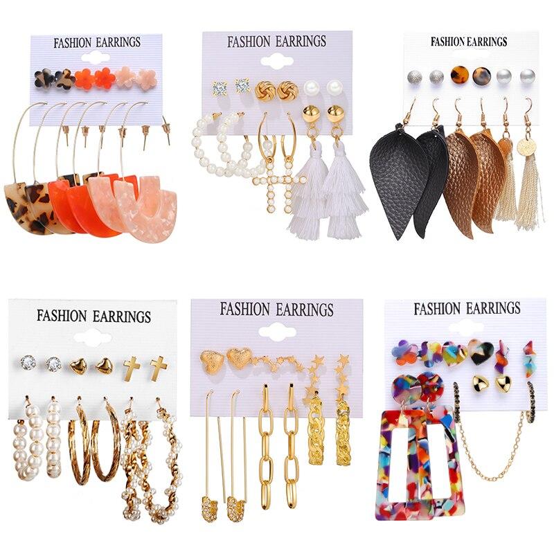 17KM Vintage Leather Earrings Set For Women Fashion Acrylic Tassel Earrings Gold Pearl Cross Dangle Earring Brincos Jewelry