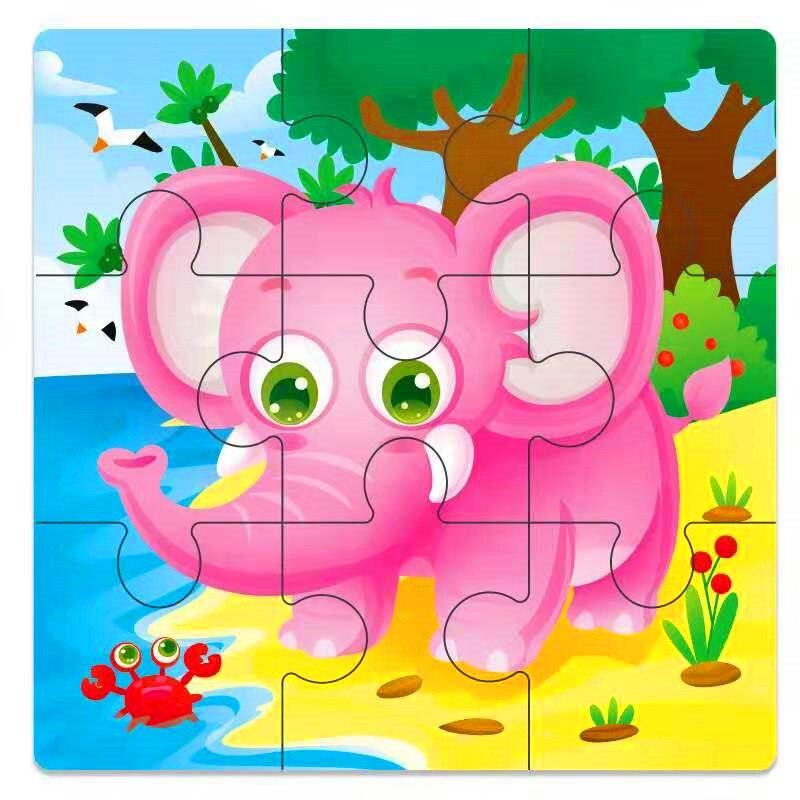 Мини Размер 11*11 см детская игрушка деревянная головоломка деревянная 3D головоломка для детей Детские Мультяшные животные/дорожные Пазлы обучающая игрушка - Цвет: Темно-синий
