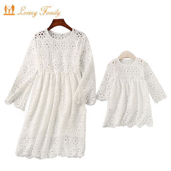 Family Matching Outfits 2020 Summer Clothes Mommy And Me Clothing Lace Mother Daughter Dresses Family Look Half Sleeve Dress brand children holiday beach dress family look matching outfits mommy and me girl clothes mother and daughter summer party dress