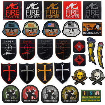 3D PVC Tactical Military Decorative Patches US America Flag Fire Fighter Emblems Sniper Rubber Badges for Jackets Clothes image