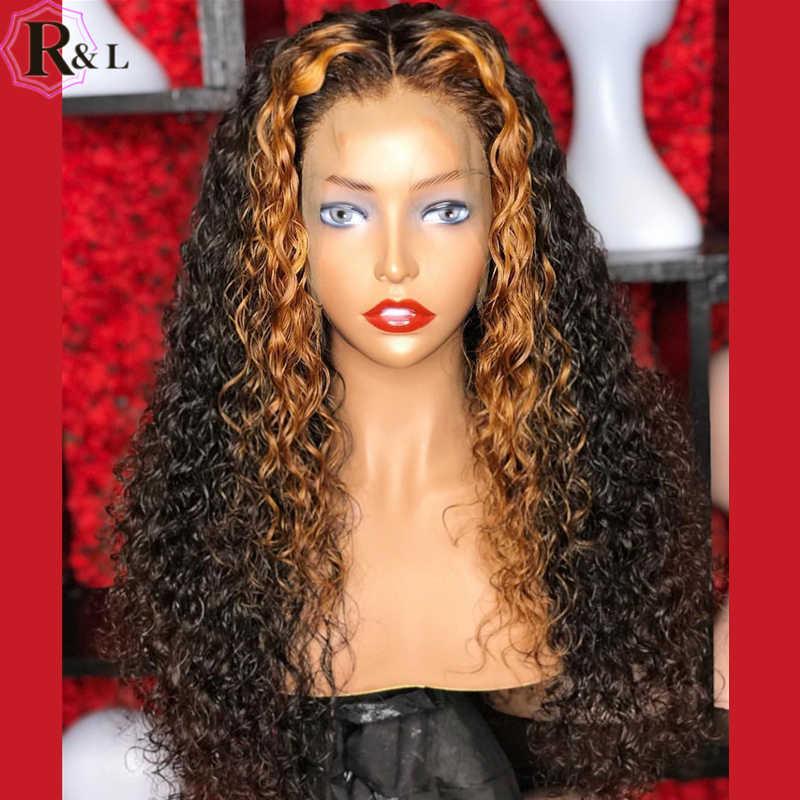 RULINDA Ombre, pelucas de cabello humano con frente rizado, pelucas con minimechones 250% de densidad, resaltar cabello brasileño Remy 360, pelucas con encaje Frontal
