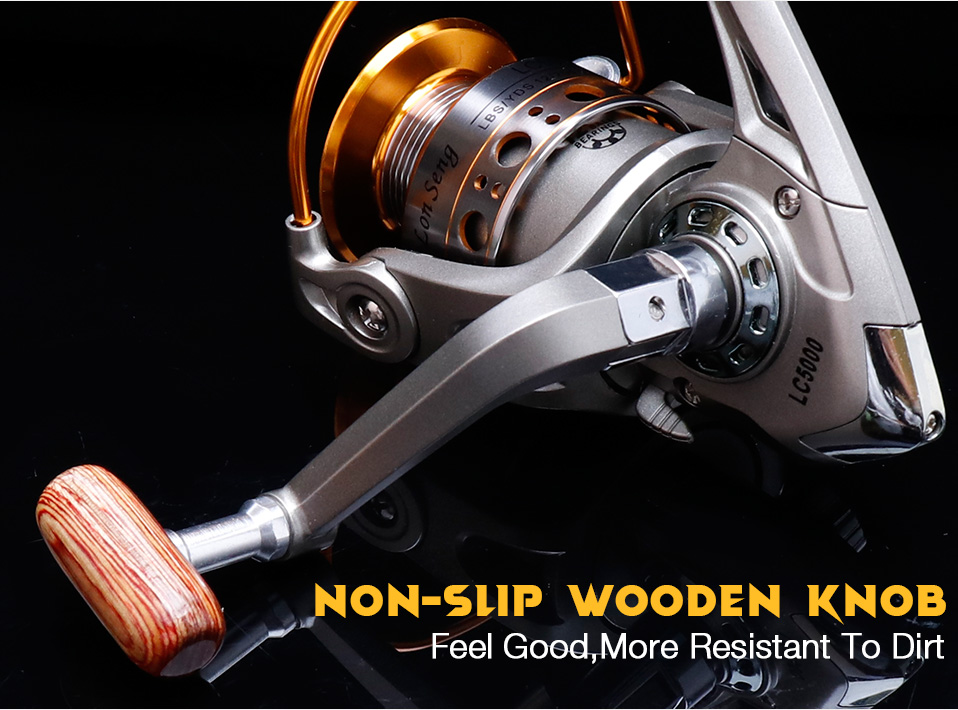 TREHOOK Super Strong 5.21 Baitcasting Reel Metal Spinning Reel Winter Fishing Accessories Sea Fishing Reels With Wooden Knob 012