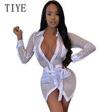 TIYE Mesh Dress Women Sexy Hollow Out Grid Perspective Fashion Mini Bodycon Long Sleeve Elegant Club Vestidos Robes