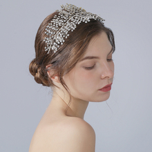 TRiXY H258 Luxury Crystal Wedding Headband Romantic Silver Full Rhinestone Wedding Tiara and Crown Handmade Wedding Headpieces