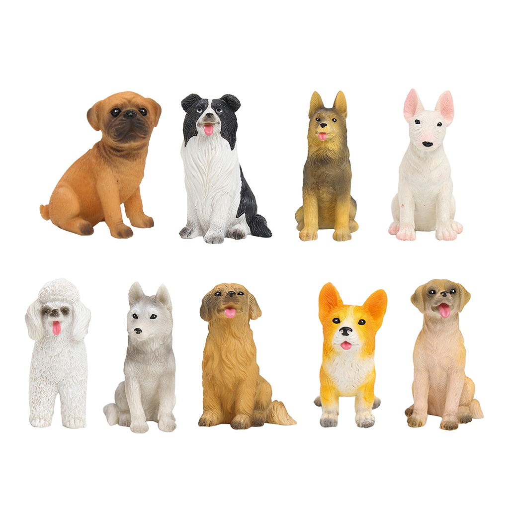 Mini Resin Dog Figures Hand-painted Puppy Ornament For Dollhouse Collection Cake Toppers