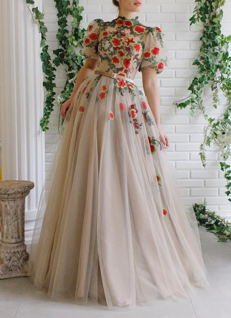 Elegant Muslim Evening Dresses 2019 A-line High Collar Tulle Embroidery Islamic Dubai Saudi Arabia Long Formal Evening Gown