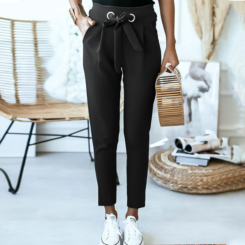 2020 Fashion high waist women pants Solid color daily office casual pants woman Comfortable lace up commuter Capris summer