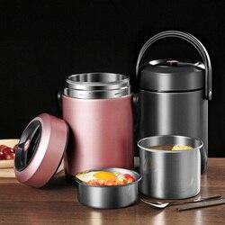 Żywności termiczna Jar próżniowe izolowane Pot pojemniki termos 304 pudełko na lunch ze stali nierdzewnej 2.6L szczelne przenośne