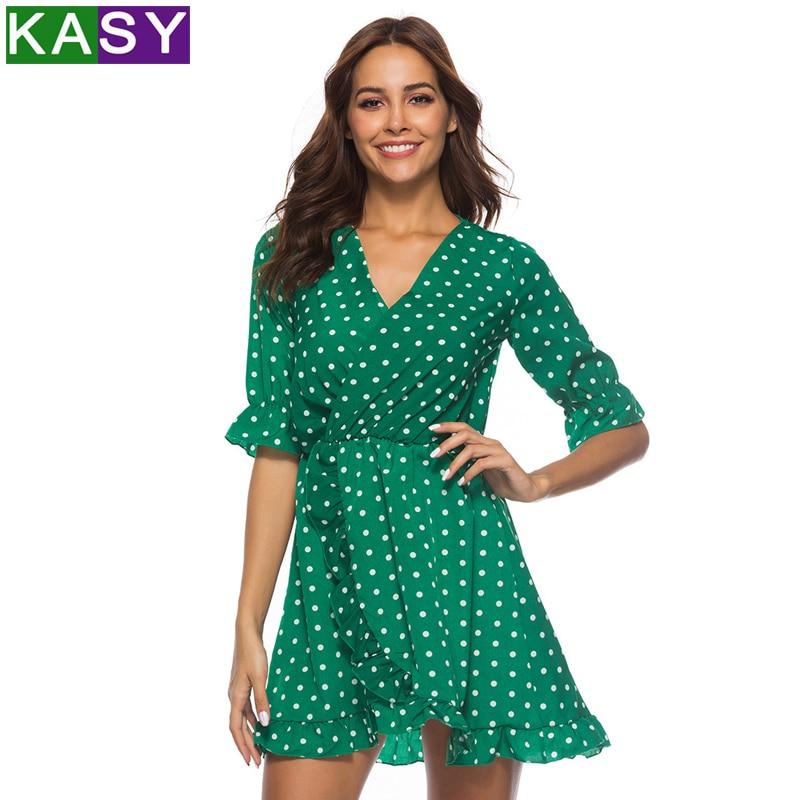 Vert bleu rouge à pois robe d'été Sexy col en V Wrap robe taille mince élégant Boho à volants Sexy plage courte robe Vestidos